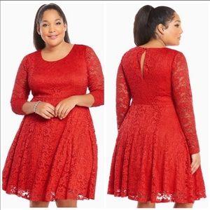 Torrid Red Lace Long Sleeve Skater Dress 2X